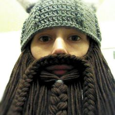 Viking or Dwarven Hat With Horns and Beard by AdairToCrochet, $60.00