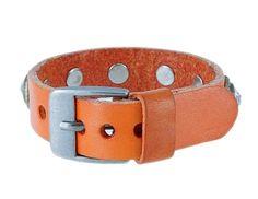 Leather Rivet Wrist Band with Crystal Decoration (Orange)