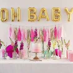 Oh baby! A colour palette of #pink and #gold made for a #fun, yet #feminine vibe at this #baby shower. See all the images of Chloe's baby shower on the #hooraymag #blog now! Styling by @bettymayvintagehire + photography by Nerida Phelan x