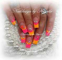 Discover new and inspirational nail art for your short nail designs. Colorful Nail Designs, Short Nail Designs, Toe Nail Designs, Acrylic Nail Designs, Bright Nails, Neon Nails, Fancy Nails, Bling Nails, Orange Toe Nails