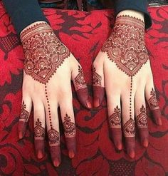 Beautiful Bridal Red Henna Designs for Hands
