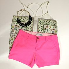 Bright Pink Shorts Old Navy shorts. Excellent condition. Shirt and necklace not included. Old Navy Shorts