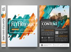 Flyers design template vector.Brochure report business magazine poster.Abstract blue cover book portfolio presentation.Flat orange triangle on poster design layout.City design on A4 brochure layout. – Image | Adobe Stock