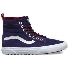 Vans SK8-Hi MTE ($85) ❤ liked on Polyvore featuring shoes, sneakers, purple, vans high tops, grip trainer, purple shoes, high top trainers and hi tops