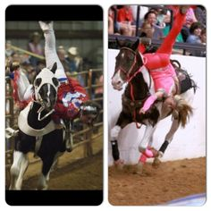 """The difference in a """"Solid"""" or """"Tight"""" trick, and a """"sloppy"""" trick. Trick riding, Horses, cowgirl, fitness Hayley Ganzel on the left and Leah Self on the right"""