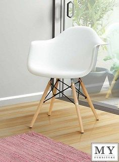 EAMES STYLE DAW EIFFEL DINING OFFICE CHAIR   WHITE   WOODEN LEG  SINGLE