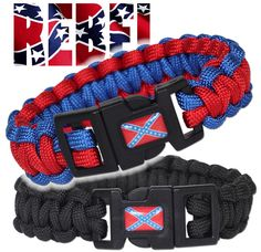 """Rebel flag on 550 Paracord survival bracelets"" Country Outfits, Country Girls, Redneck Wedding Dresses, Beach Souvenirs, Southern Pride, Southern Comfort, Shark Tooth Necklace, Camo Hats"
