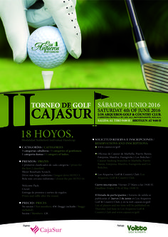 Cartel torneo golf Cajasur en Los Arqueros Golf en Marbella organizado por Voitto Golf & Events