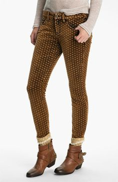 Free People Polka Dot Skinny Velvet Pants. I am all about dots this fall.