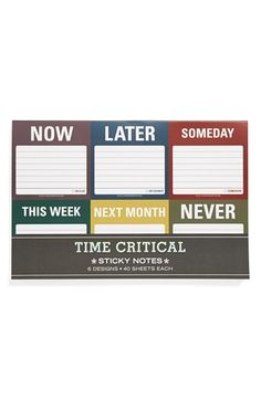 Knock Knock 'Time Critical' Sticky Notes (6-Pack) | Nordstrom
