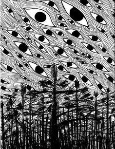 Eyes in the Sky by CleverLittleAlex on DeviantArt Arte Horror, Horror Art, Psychedelic Art, Dibujos Dark, Art Sketches, Art Drawings, Arte Obscura, Psy Art, Creepy Art