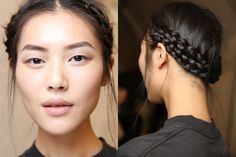 braided updo- just french braid pigtails and wrap around in opposite directiion