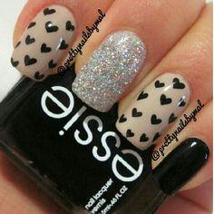 Nails. Fashion. Nail Art. Nail Design. Nail Polish. Style. Heart. Black, nude, glitter. Essie.