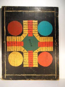 20th C Parcheesi Gameboard Vintage Folk Art Game Board Original Paint