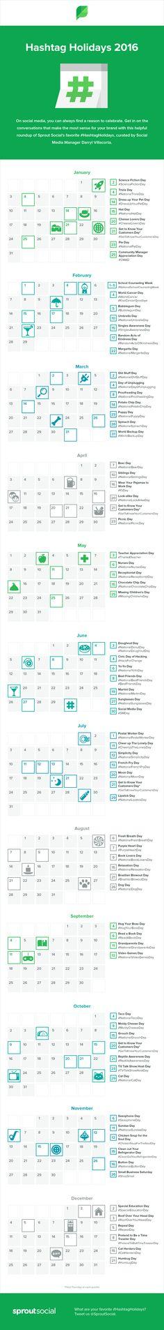 """Hola: Una infografía con un Calendario de Hashtags para 2016. Un saludo """"Hashtag Holidays 2016 Calendar"""" by Sprout Social"""