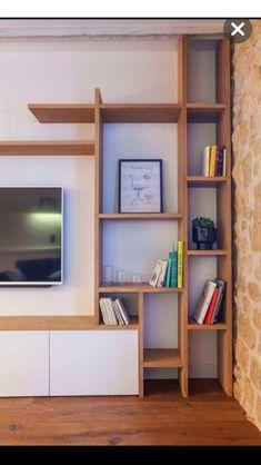 Regal Design, Childrens Beds, Living Room Tv, Shelf Design, House Rooms, Floating Shelves, Home Remodeling, Bookcase, Corner Bar