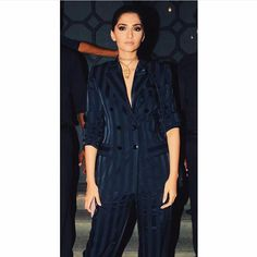 Glam Gal - Sonam Kapoor Glam Point - Jitesh Pillaai's birthday party Glam Check - A striped pant-suit by Yves Saint Laurent with necklace by Valentino. Glam Tip - Sonam pulls off a #bosslady look with a pant suit. The actress sported an intense smokey eye with a sleek hair look. She paired the outfit with only one accessory - a necklace with a statement pendant. Suits have become a popular choice of outfit amongst the Bollywood ladies, with Sonam wearing a suit outfit for the third time.