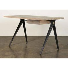 Compass Smoked Wood Desk Table | Memoky.com