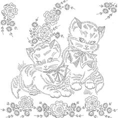 "kittens preprinted linen    The orginal was printed on black satin. My mom bought it in the late 60's and I embroidered it for her in the early 70's. I don't know the orginal manufacturer. It is for an 14"" pillow. It took 4 scans to get the whole picture done."