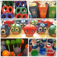 PJ Masks themed desserts (chocolate covered Oreos, chocolate covered pretzels, candy popcorn, cake pops and chocolate covered apples)
