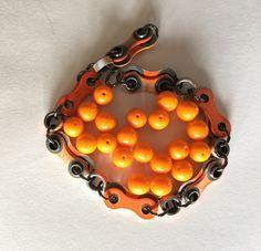 BMX Bracelet Double Sided BMX Orange Chain handmade with gunmetal grey rings biker jewelry Bmx, Biker, Candle Holders, Candles, Orange, Chain, Trending Outfits, Grey, Unique Jewelry