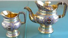 Magnificent Russian silver champleve enamel teapot & creamer made for Tiffany New York circa 1890