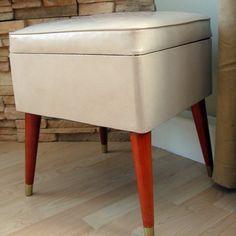 vinyl ottoman - baby shoe storage.
