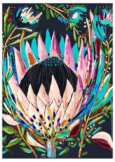 Extraordinary colors & perspective on this in-your-face-floral! From Grotti Lotti Australian Native Flowers, Australian Art, Art And Illustration, Art Floral, Painting Inspiration, Art Inspo, Collages, Kunst Inspo, Botanical Art