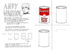 Warhol Worksheet :: Let-s-Make-Some-Great-Art-by-Marion-Deuchars Andy Warhol Pop Art, Andy Warhol Soup Cans, Art Sub Plans, Art Lesson Plans, Art Handouts, Pop Art Movement, 6th Grade Art, Art Worksheets, Ecole Art