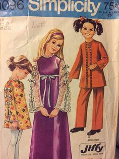 Vintage 70 s Girls  Boho Dress and Pants Sewing Pattern Simplicity 9096  Size 8 Breast 27 inches Com 27e6f724f