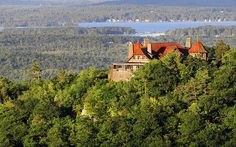 Castle in the Clouds, one of the major attractions in the lakes region. Looking down at Lake Winnipesaukee, Castle in the Clouds offers scenic views and hike paths