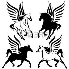 en blanco y negro dise�o del Pegasus - set vector alado caballo photo