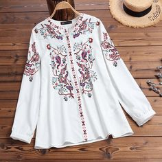 """Achieve the continental look of the well-traveled woman in this embroidered women tops."" #embroideredwomentops #longsleevetops Long Sleeve Tops, Long Sleeve Shirts, Bohemian Blouses, Summer Blouses, Boho Look, Latest Fashion For Women, Fashion Prints, Shirt Blouses, Blouses For Women"
