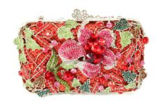 A stunning crystal clutch from Blooms N Brides.  Created with red, pink and shades of green crystals in a garden theme is a one of a kind accessory.  bloomsnbrides.etsy.com