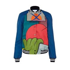 Mira Mikati Colourblocked Bomber Jacket ($1,200) ❤ liked on Polyvore featuring outerwear, jackets, bomber style jacket, blouson jacket, colorblock bomber jacket, colorblock jacket and patch jacket