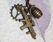 3D Machine Gun, Grenade, and Sprocket Steampunk Necklace