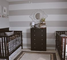 Beige and neutral room for twins. Love the dark furniture!