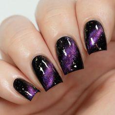 Black And Purple Nails, Purple Nail Art, Purple Nail Designs, Pretty Nail Art, Acrylic Nail Designs, Nail Art Designs, Awesome Nail Designs, Purple Wedding Nails, Dark Nail Art