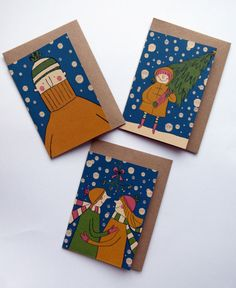 illustrated Christmas cards by Emily Mackenzie