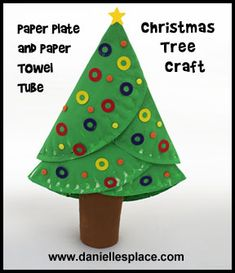 This Christmas tree craft project was made using paper plates and a paper towel roll.