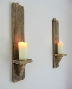 PAIR OF 50CM RECLAIMED PALLET WOOD SHABBY CHIC WALL SCONCE CANDLE HOLDER
