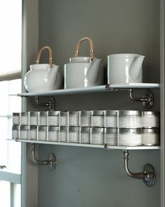 open shelves. use pipe tubes. downstairs bathroom