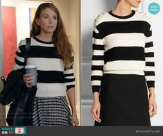 Liza's striped sweater with gold shoulder buttons on Younger.  Outfit Details: https://wornontv.net/55899/ #Younger