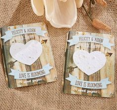 These Rustic Hearts Heart Seed Paper Cards will make a fun and thoughtful wedding or bridal shower favor. Cards may be personalized with the bride and groom's names and wedding date or two custom lines on a charming woodgrain backer card.