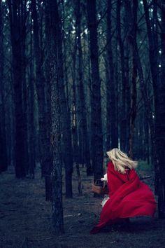 Cloaked girl running