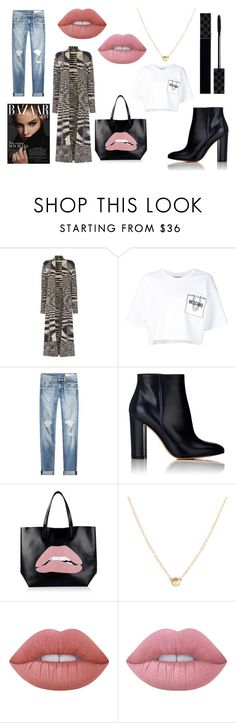 """""""ACT MY AGE"""" by laura-melissa-cortes on Polyvore featuring moda, Oui, Moschino, rag & bone, Gianvito Rossi, RED Valentino, Lime Crime y Gucci"""