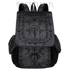"""""""RUNIC MOON BLACK BACKPACK"""" with pockets, School bag, (£43) ❤ liked on Polyvore featuring bags, backpacks, day pack rucksack, daypack bag, backpack bags, pocket bag and pocket backpack"""
