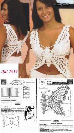 Croche With Butterfly In Blouse - - Diy Crafts - maallure Crochet Bra, Crochet Girls, Crochet Crop Top, Crochet Blouse, Crochet Clothes, Crochet Stitches, Crochet Butterfly Pattern, Crochet Bikini Pattern, Crochet Designs