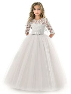 Kids Little Girls' Dress Solid Colored Flower Wedding Party Evening Hollow Out White Blue Purple Lace Tulle Maxi Short Sleeve Flower Vintage Gowns Dresses 3-13 Years 2021 - US $23.09 Party Dresses Online, Pageant Dresses, Ball Dresses, Ball Gowns, Flower Girl Dresses, Tutu Dresses, Snowflake Dress, African Dresses For Kids, Robes Tutu