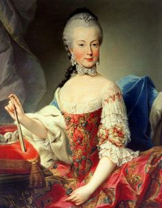Archduchess Maria Amalia of Austria. 1760s. A richly brocaded, strawberry red robe de cour. Sadly no such robe has come down to us.